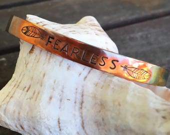 Fire Painted Copper Hand Stamped Copper Bracelet