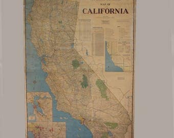 Large Industrial School Map of California - 5.5 Feet Tall
