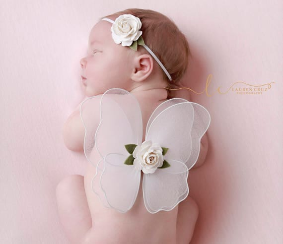 White Baby Butterfly Wings AND/OR Headband with Mulberry Paper Flowers - newborns, photo prop, newborn photographers by Lil Miss Sweet Pea