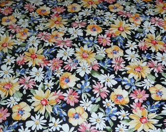 """Leather 12""""x12"""" Black Flower Garden NOW on COWHIDE multicolored Floral pattern 2.5-3 oz / 1-1.2 mm PeggySueAlso™ E2176-01A"""