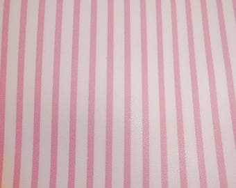 """Leather 8""""x10"""" CANDY STRIPE Pink PTR stripes on White Medium firm - not real soft Cowhide 2.5-3oz/1-1.2mm PeggySueAlso™ E3097-05"""