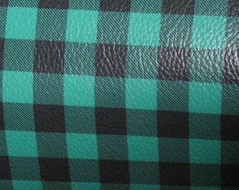 Leather 3 or 4 or 5 or 6 sq ft MINI BUFFALO PLAID Green and Black Cowhide Digital Print 2 oz/ 0.8 mm PeggySueAlso™ E1180-04