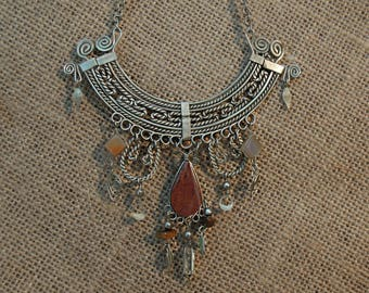 Vintage Peruvian Art Silver Necklace / Art Piece