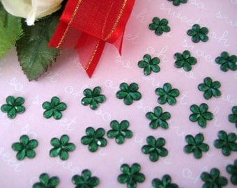 "10 mm Green Flower Rhinestones for Scrapbooking, Crafting, Invitation Card, Baby shower, Embellishment, 3/8"", 100 or 200 pieces"