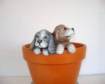 Ceramic flower pot decoration, flower pot hanger, two puppies