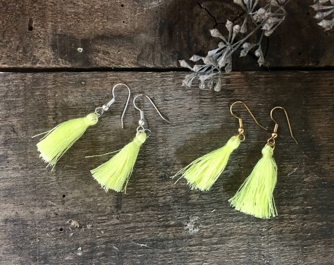 boho tassel earrings, citrine yellow earrings, cotton jewelry, unique bohemian gifts for mom, unique gifts for her, fall jewelry trends