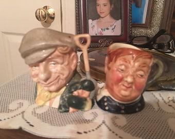 2 Vintage England Royal Doulton Miniature Head Creamer Mugs