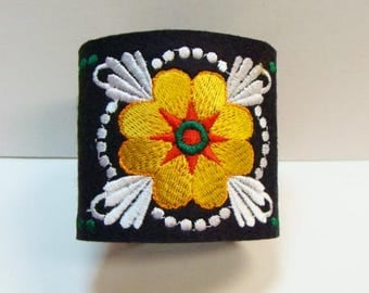 Embroidered Wool Felt Cuff Bracelet