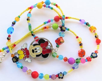 CHEERFUL MINNIE- Beaded Id Lanyard- Sparkling Crystals, Milliefiori Beads, Lucite Beads, and Minnie Mouse Charm (Magnetic Clasp)