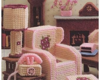 Plastic Canvas Pattern, Plastic Canvas Fashion Doll Furniture Pattern Living Room Furniture, Vintage Pattern