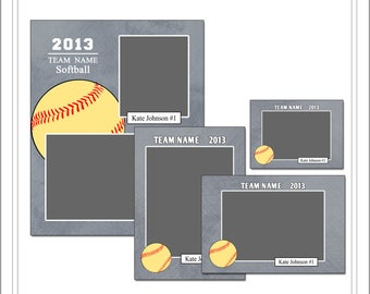Softball Memory Mate Templates, Sports Template, PSD Photoshop Template (SM208) INSTANT DOWNLOAD
