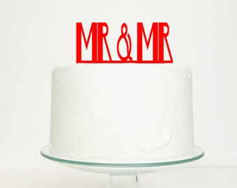 S A L E 'Mr & Mr' Gay Wedding Cake Topper in Red