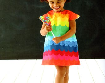 girls rainbow scallop print dress
