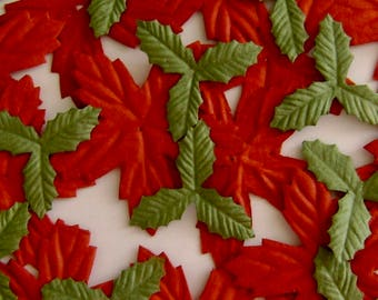 Poinsettia and Holly Leaves Paper Flowers