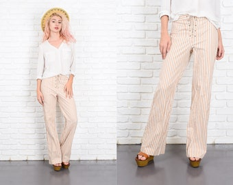 Vintage 70s White + Beige Striped Print Pants Trousers Corset Tie Small S 9998