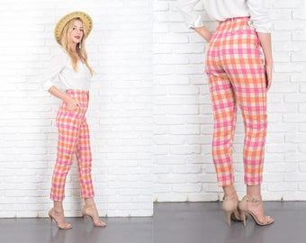 Vintage 60s 70s Pink + Orange Wool Trousers Pants High Waist Plaid 10172