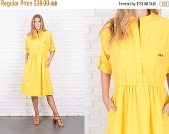 Sale Vintage 80s Bold Yellow Dress Shirt Dress A Line Shirtdress Medium M 9920