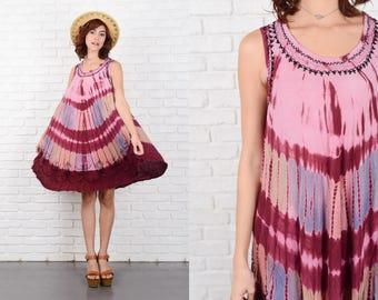 Vintage 90s Ethnic Grunge India Dress Oversize A Line Embroidered S M L 10200