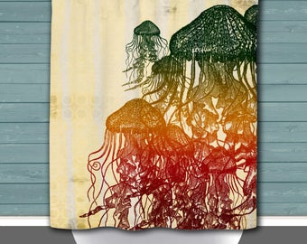 Shower Curtain And More   Jellyfish Rasta Inspired Sea Life Reggae Jellies  | See Dropdown For
