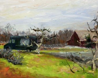 Plein Air Landscape Oil Painting on Canvas Winter Orchard