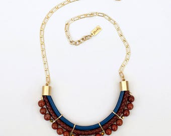 Navy blue and brick jasper Necklace by Pardes