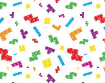 White Tetris Pieces Main from Riley Blake Fabrics