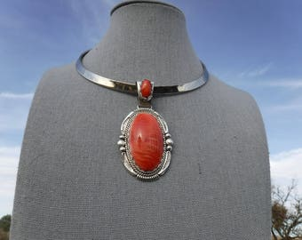 RED SPINY OYSTER Pendant   #1102-w
