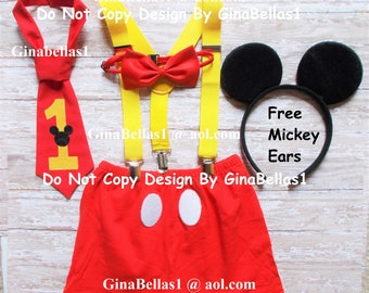 Mickey Mouse Birthday outfit cake smash free ears shorts suspenders clubhouse bow tie OR I am one necktie optional hat 12 18 24 2t toddler