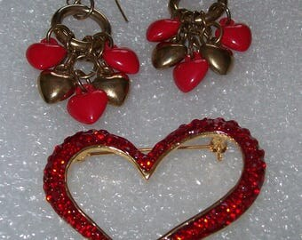 Red and Metal Heart Dangling Hook Earrings and Red Rhinestone Heart Pin