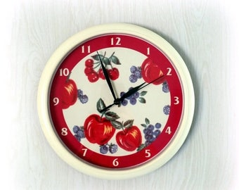 CIJ SALE Retro WALL Clock - Cherries, Apples & Berries - Battery Operated