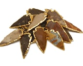 Jasper Arrowhead Pendant with Electroplated 24k Gold Edge-- Made in India - BULK LOTS 1, 3, 5, 10, 25 (S78B1)