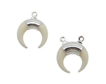 10% off Labor Day Tiny White Bone Crescent Single or Double Bail Pendants with Electroplated Silver Band (S120B3)