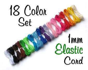 Bead Elastic - 1mm Elastic Cord - 18 Color Set - Thin Stretch Cording for Bracelets, Beading, Crafts
