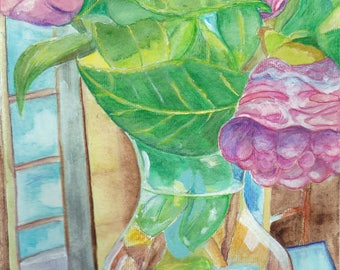 Camellia painting mixed media watercolor/acrylic camellias flower still life
