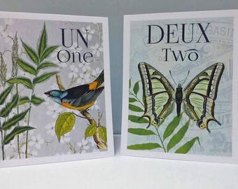 French Table Numbers, French Botanical Table Cards,  French Party,  Wedding Table Cards, Botanical Table Cards, French Wedding Table