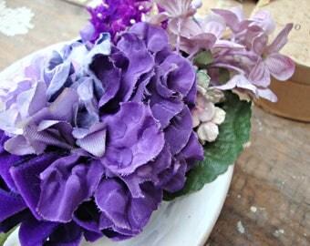 Antique Vintage Velvet Millinery Flowers Posy - #208