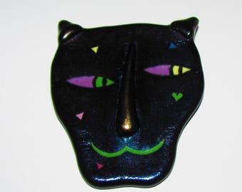 Early Janet Kelman Glass Iridescent Cat Brooch Pin. Circa 1980's -  Ann Arbor Artist