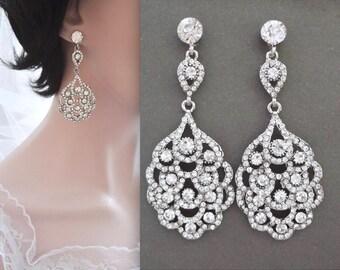 Crystal wedding earrings,Peacock earrings,Crystal chandelier earrings,Art Deco crystal earrings,Gatsby wedding earrings,Brides earrings,NINA