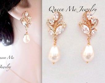 Gold pearl earrings, Cubic zirconia's earrings, Brides pearl earrings, Gold pearl drop earrings, Marquise cut, Gold wedding earrings, LILLY