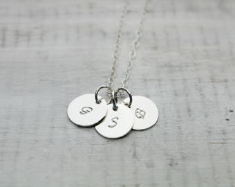 Personalized Necklace- Sterling Silver- Charm Necklace- Hand Stamped Necklace- Initial Necklace- Personalized Jewelry