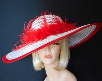 Red and White Hat - Red Feathered Hat - Wide Brim Kentucky Derby Hat