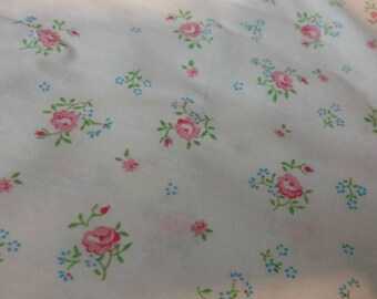 """Vintage Shabby Chic Rose Sewing Material - Floral Calico Cotton Material Yardage, Spring + Summer Clothing Fabric, Sewing Fabric, 72"""" by 36"""""""