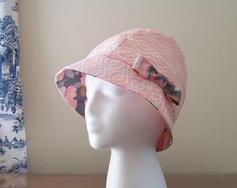 Chemo Hat Cloche Style Cotton Print in Contemporary Pink and White Design, satin lined with a fabric bow, Cancer Patient Gift, Ready to Ship