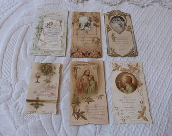 6 antique Holy prayer Holy first communion cards w Jesus Christ 1900s French religious catholic cards collection cards w chalice crucifix