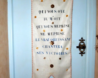 Antique French religious banner linen w hand printed text w gold foil paper flowers, fringed trim, processional banner, church fabric decor
