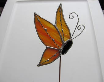 Yellow and Orange Rippled Translucent Stained Glass Butterfly (Side View) - Handcrafted Plant/Garden Stake