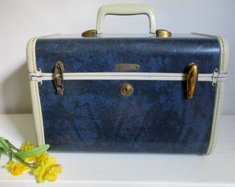 Train Case NAVY SAMSONITE Vintage Blue with Cream 1940s 1950's Small Luggage, Tray & Mirror, Carry On Wedding Honeymoon Steampunk 4712 As-Is