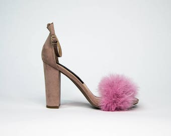 Blush Pink Chunky Fur Heels with Furry Faux Fur Ankle & Two Toned Toe Strap Detailing
