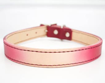 Large Ombre Custom Leather Dog Collar - Purple Leather Dog Collar - Girl Leather Dog Collar - Female Leather Dog Collar