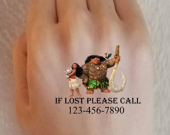 Kids If found Please Call Emergency Tattoos for Children Moana Contact Information Safety ID Theme Park Vacation Phone Number If Lost